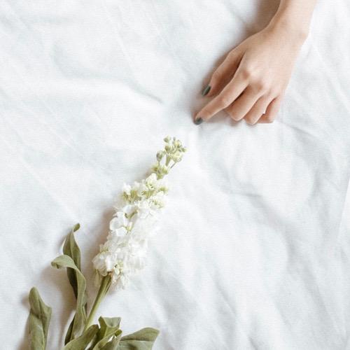 Hand mit Blüte
